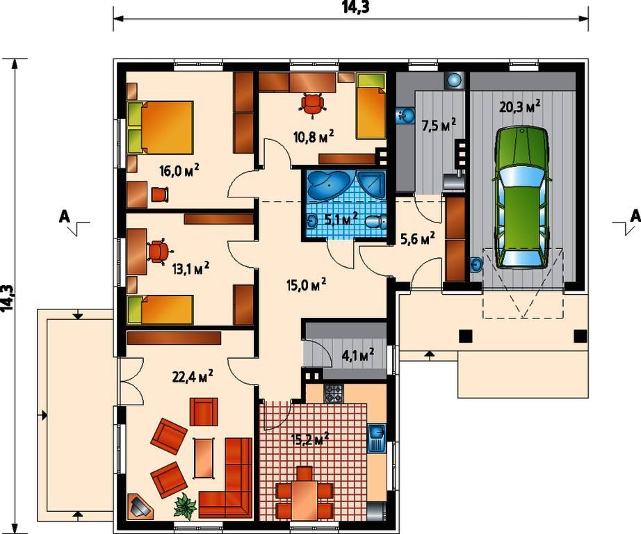 План дома с пристроенным гаражом