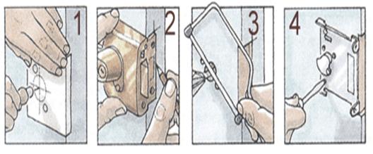 Последовательность установи накладного замка