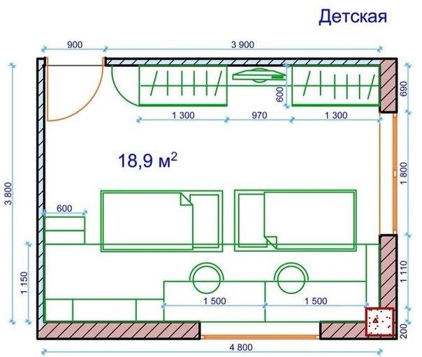 Пример планировки отдельной комнаты с мебелью