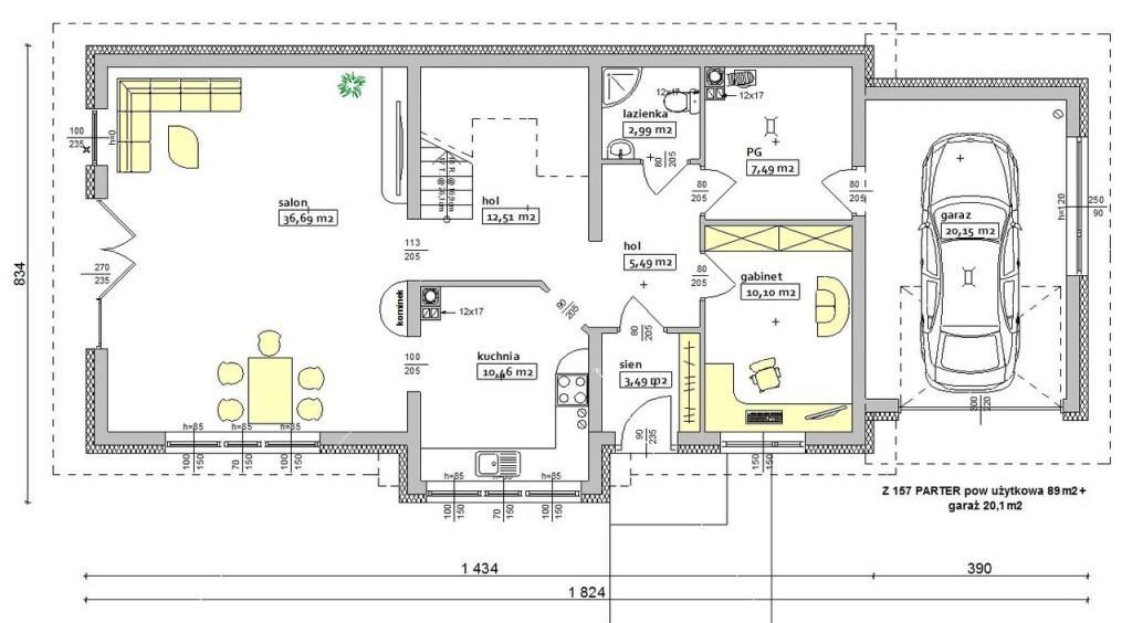 Пример стандартного проекта дома с гаражом