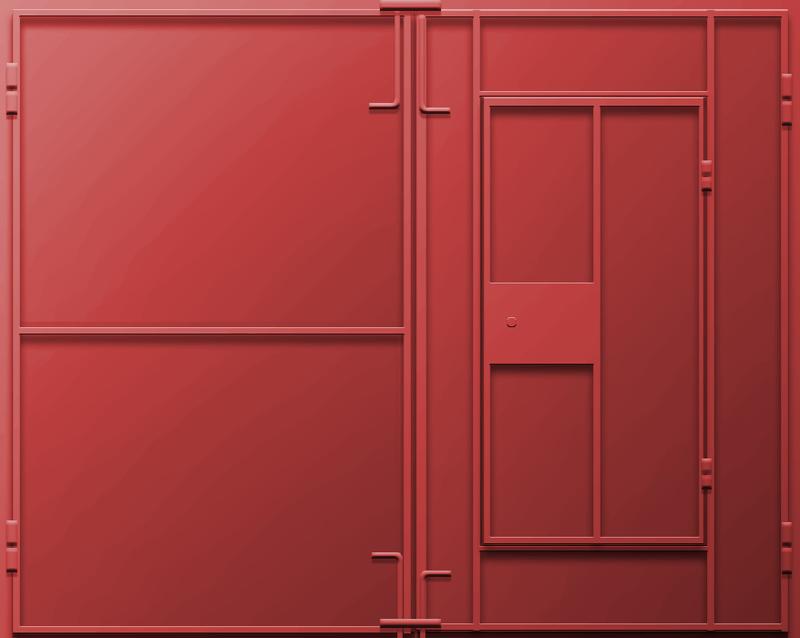 Распашные ворота с калиткой для гаража