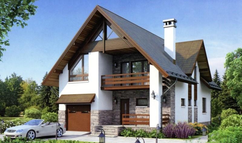 Проект дома 8х10 с гаражом из пеноблоков