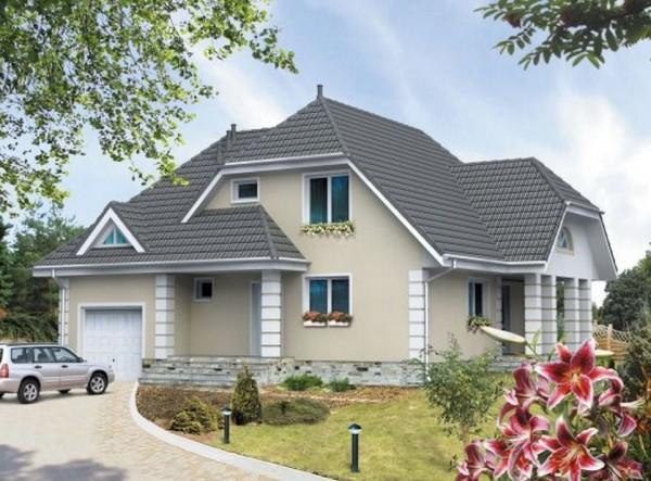 Проект двухэтажного дома с гаражом из пеноблоков