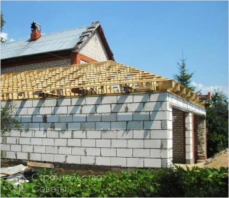Возведение крыши на гараже
