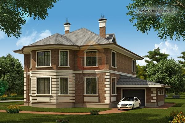 Двухэтажный дом с пристроенным гаражом