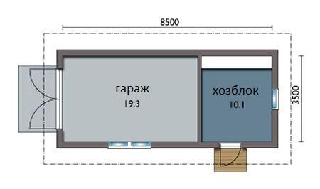 План гаража с хозблоком