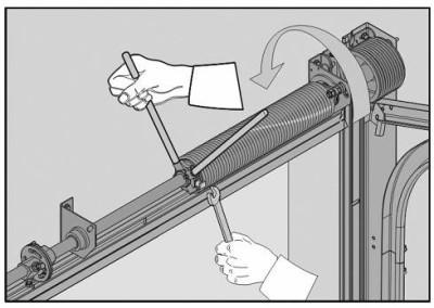 Регулировка троса в секционных воротах с цельным валом