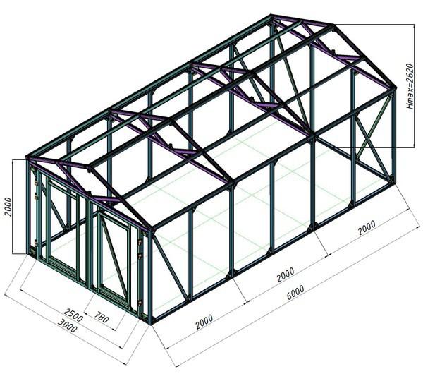 Создание чертежа будущего гаража с указанием размеров