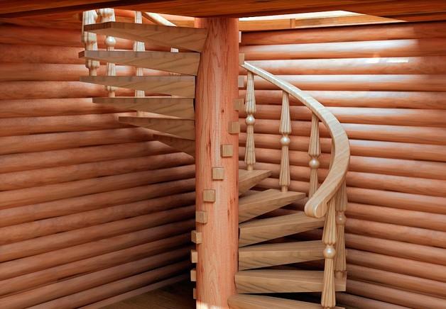 Винтовая лестница с фиксацией ступеней на столбе