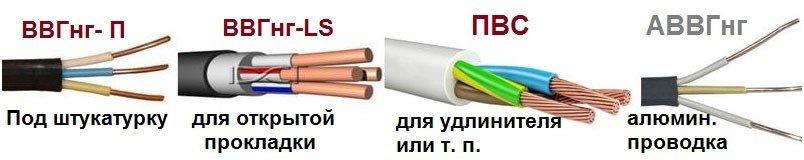 Виды часто используемых кабелей в проводке для гаража