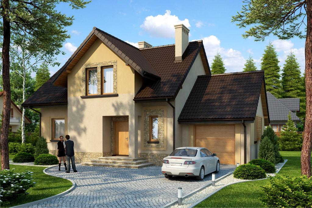 Двухэтажный коттедж с пристроенным гаражом и мансардой