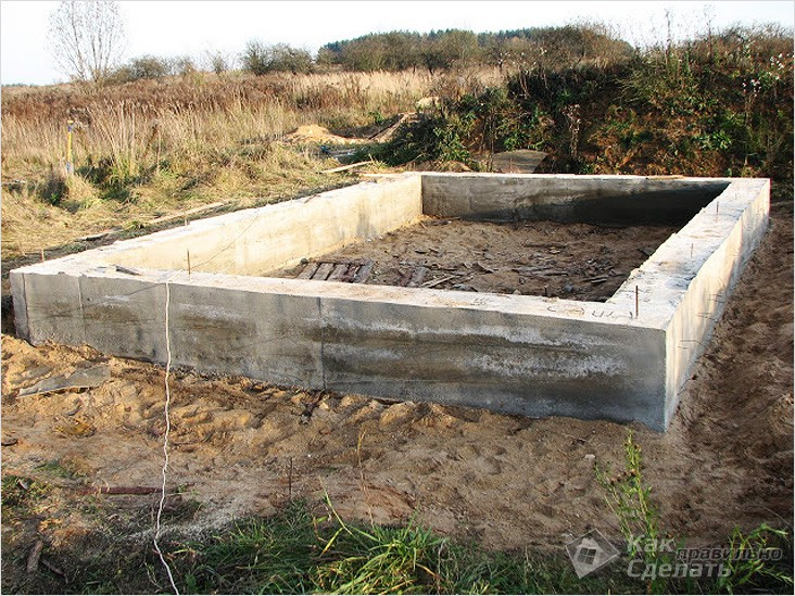 Ленточный фундамент для гаража с хозблоком