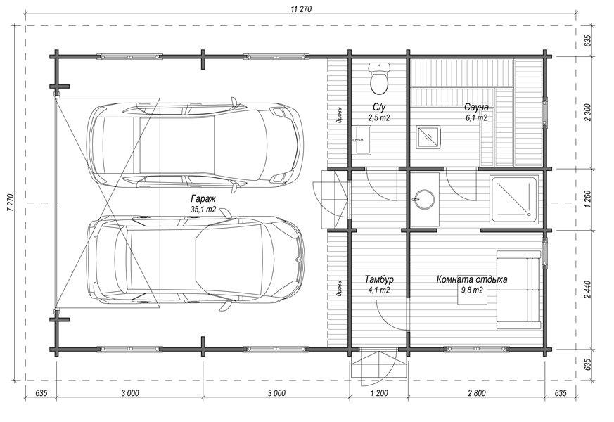 План гаража для двух машин с баней с общим тамбуром