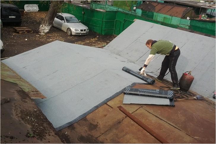 Покрытие металлического гаража рубероидом