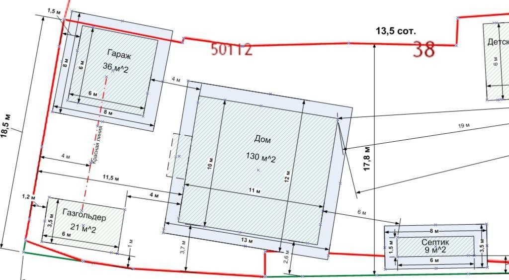 Пример схемы расположения будущей постройки