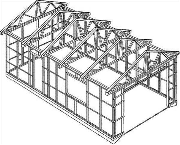 Схема каркаса из металлического профиля для гаража