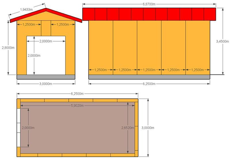 Стандартная раскладка сип панелей для гаража