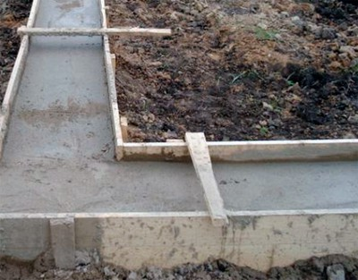Заливка траншеи бетоном