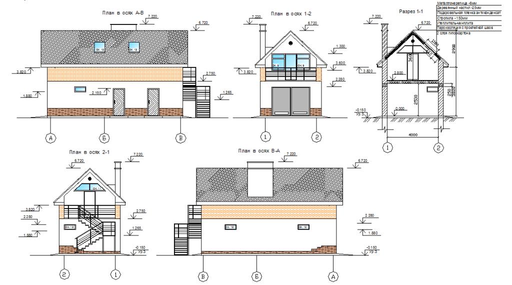 Чертеж двухэтажного гаража