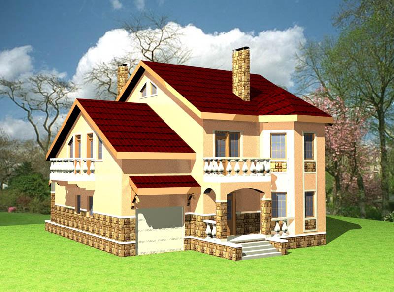 Проект двухэтажного дома с мансардой и гаражом.
