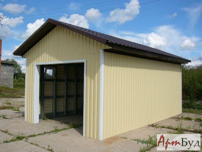 Каркасный гараж из металлопрофиля