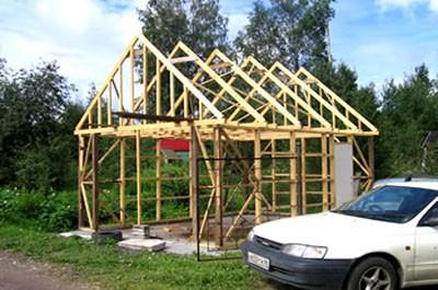 Строительство каркасного гаража на даче