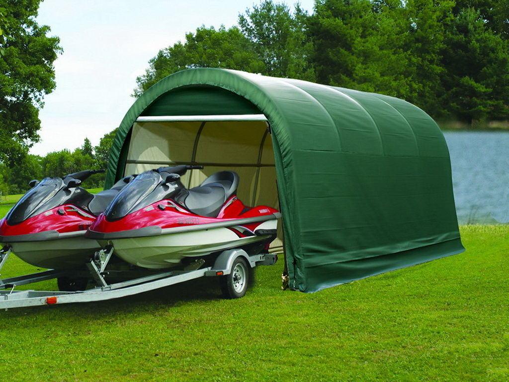 Гараж – палатка дугообразной формы.