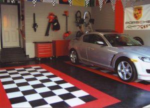 Minimalist-Garage-Interior-Design-Ideas-Sport-Sedan-Plank-Wall-888x641