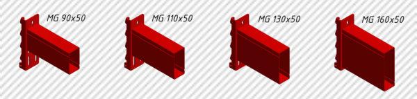 Балки для фронтальных стеллажей из профиля различного сечения.