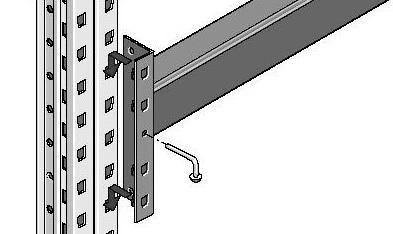 Крепление балки к стойке происходит при помощи коннектора с перфорацией, для фиксации и защиты от выбивания применяют предохранительный штифт.