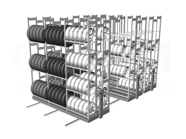 Открытый стеллаж, снабженный усиленной полкой для хранения колес для автомобиля.
