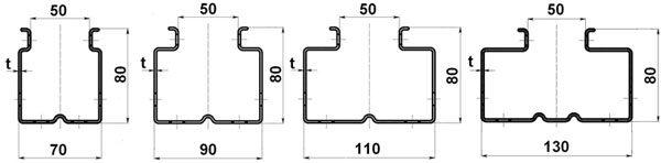 Рамы производятся в четырех вариантах поперечного сечения: 70, 90, 110 и 130 мм.