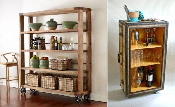 Мобильный стеллаж для кухни оборудован колесиками для удобства уборки помещения, а оригинальный стеллаж – бар в виде чемодана украсит интерьер.