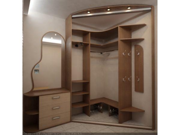 Угловой деревянный стеллаж для гардеробной