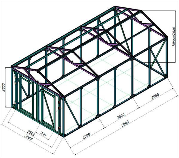 Размеры стандартного гаража 3 х 6 м (чертеж каркаса).