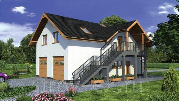 Оригинальный проект дома с гаражом и мансардой