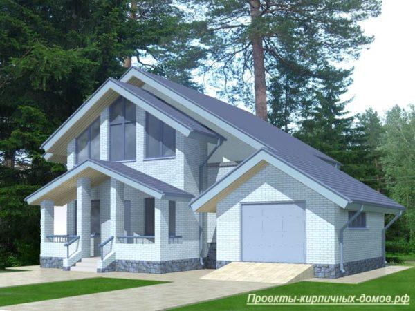 Проект кирпичного дома с мансардой и гаражом