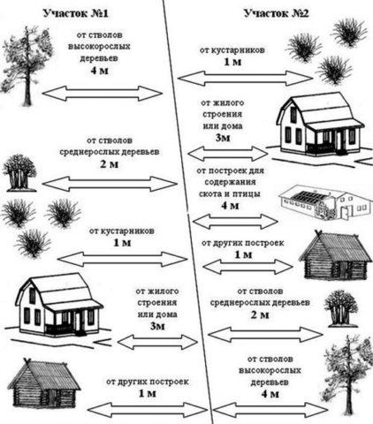 Размещение построек на соседних территориях