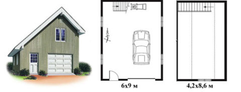 План гаража с мансардой