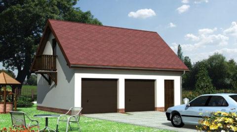 Проект двух гаражей с мансардой