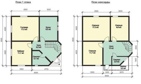 Проект первого этажа и мансарды