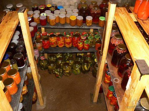Размещение продуктов в подвале