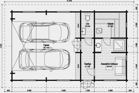 Планировка комнат в гаражах