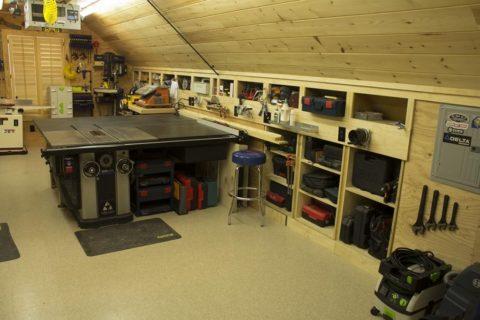 Удобная планировка мастерской в гараже