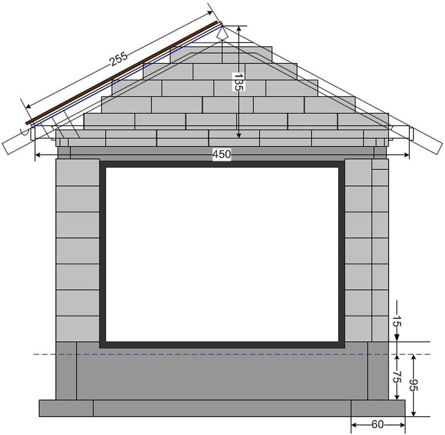 схема чертеж строим погреб из блоков