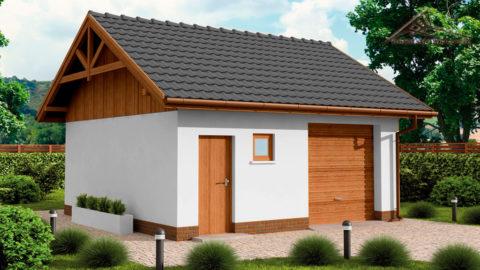 Гараж и хозблок под одной крышей: вариант с окрашенным фасадом