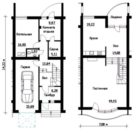 План расположения помещений в узком доме
