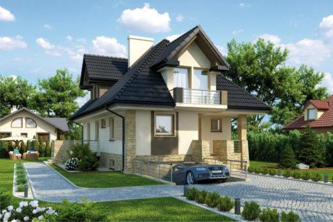 Проекты домов с цоколем, с гаражом: вариант узкого здания с въездом в торцевой части