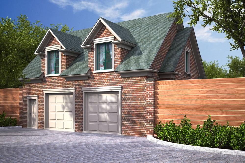 Проект кирпичного гаража на 2 машины с двойным фасадом и мезонинами на крыше