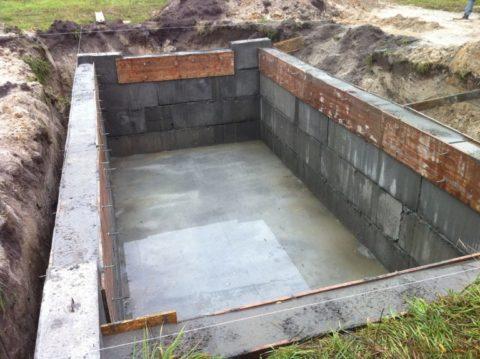 Фундамент для гаража с подвалом